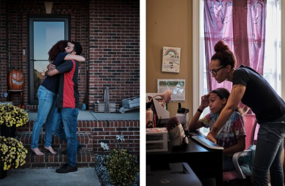 Heather King, left, hugs her son Taj. On the right, King is helping her daughter, Etta June Pahman, with classwork.