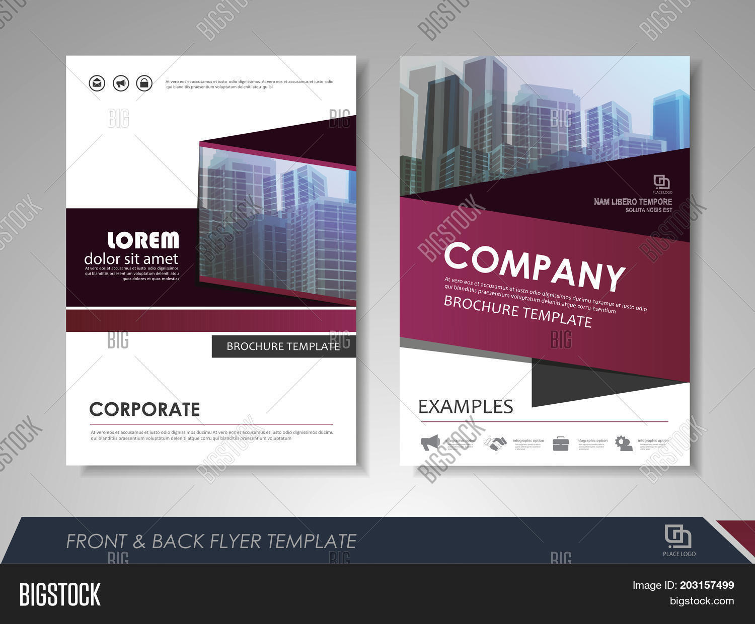 Modern Purple Vector   Photo  Free Trial    Bigstock Modern purple Brochure design  Brochure template  Brochures  Brochure layout   Brochure cover
