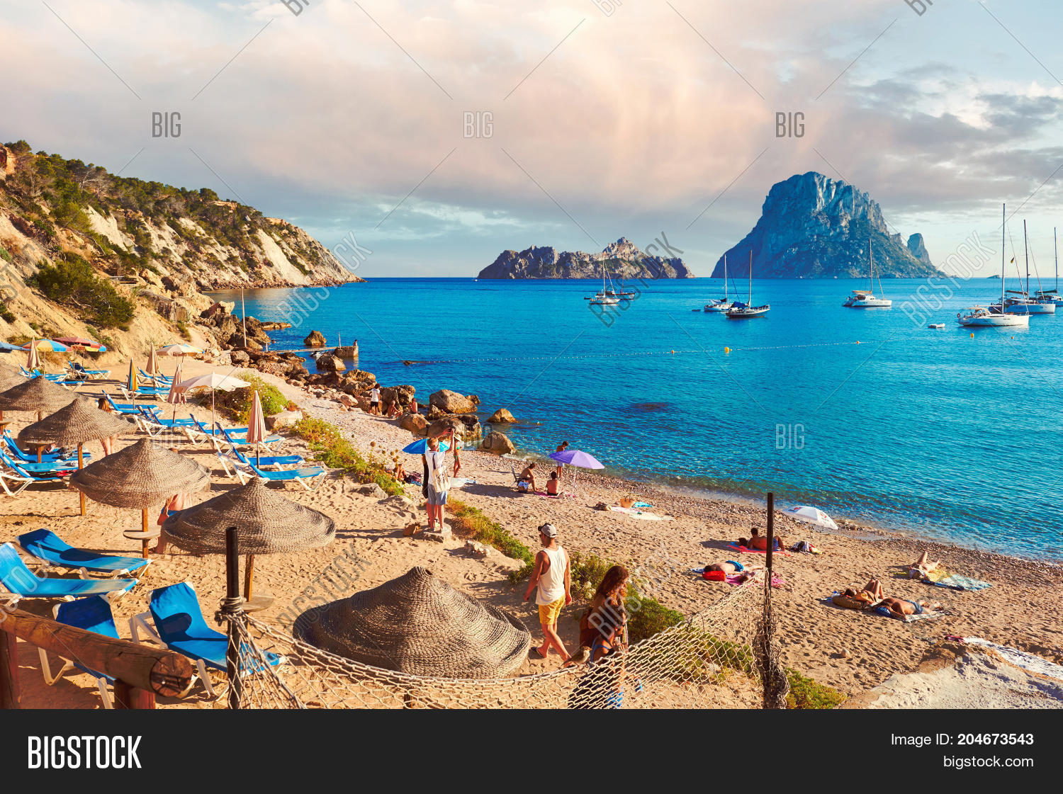 Ibiza Island Spain   Image   Photo  Free Trial    Bigstock Ibiza Island Spain   June 12 2017  People enjoying the summer at Cala d