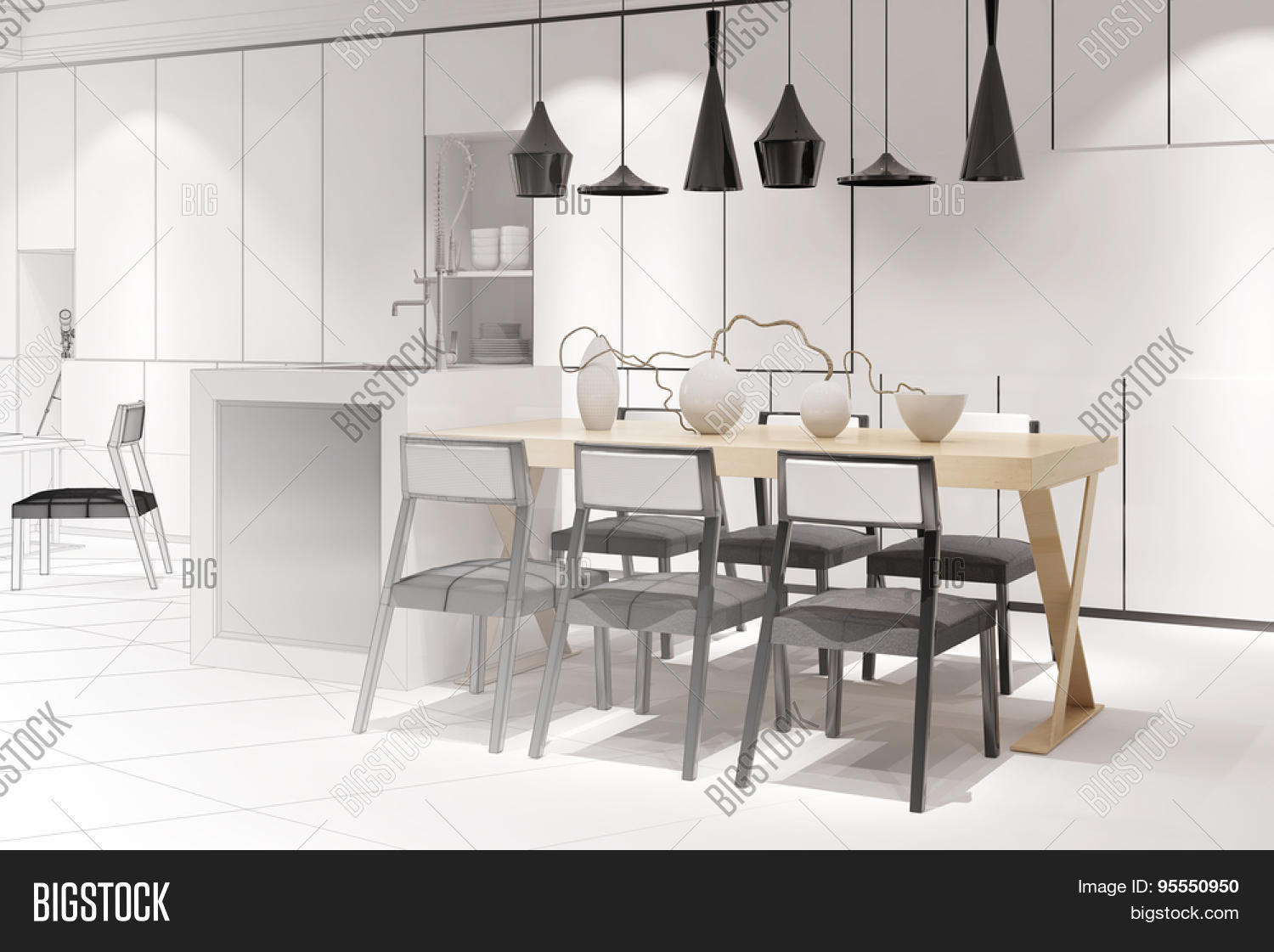 stock photo sketch of a modern eat in kitchen with dining table from interior architect (3d rendering) eat in kitchen table Sketch of a modern eat in kitchen with dining table from interior architect