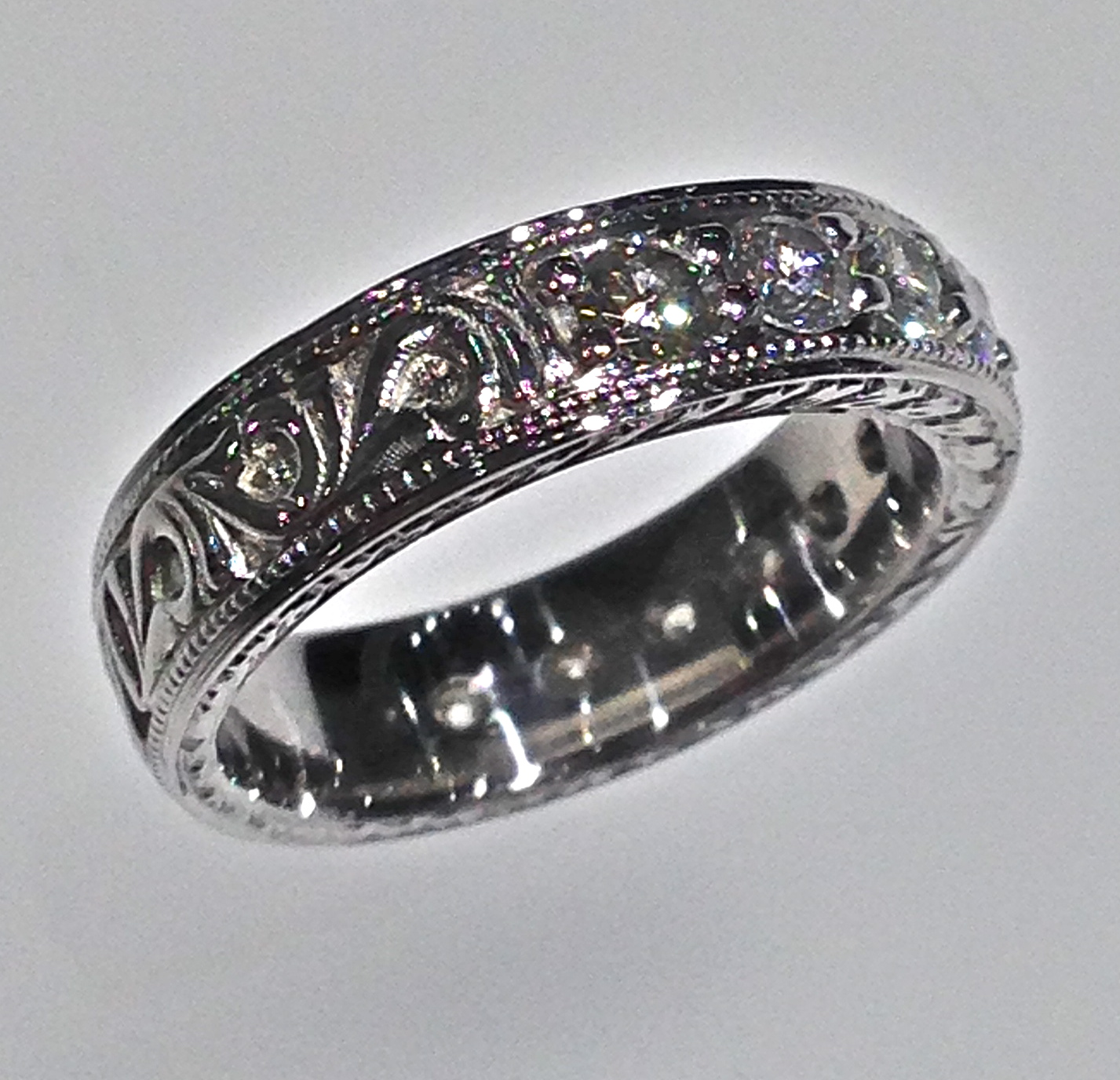wedding bands antique style wedding bands Craft Revival Jewelers diamond wedding band antique wedding band engraved band