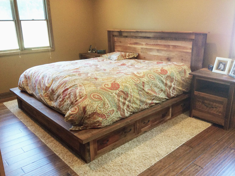 Reclaimed Wood Bed Frame Storage Drawers What We Make