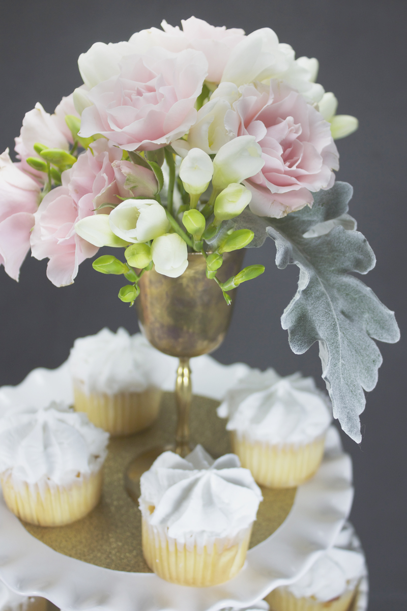 pink gold shower inspiration wedding shower decorations Make bridal shower centerpieces by placing plain grocery store cupcakes on gold cardstock Place the