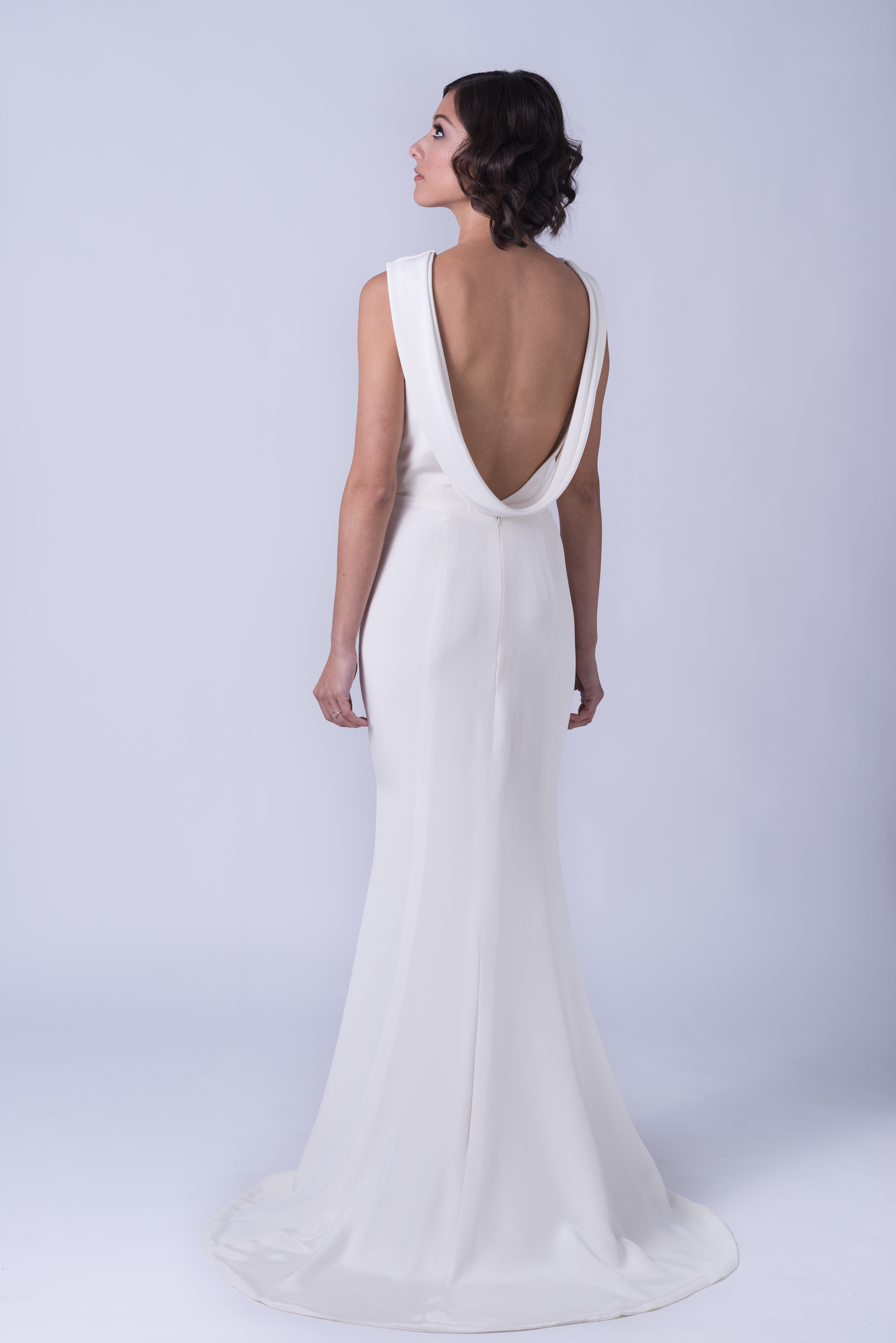katharine backless wedding dress with cowl silk wedding dresses Katharine Bateau neck backless silk crepe wedding gown with cowl