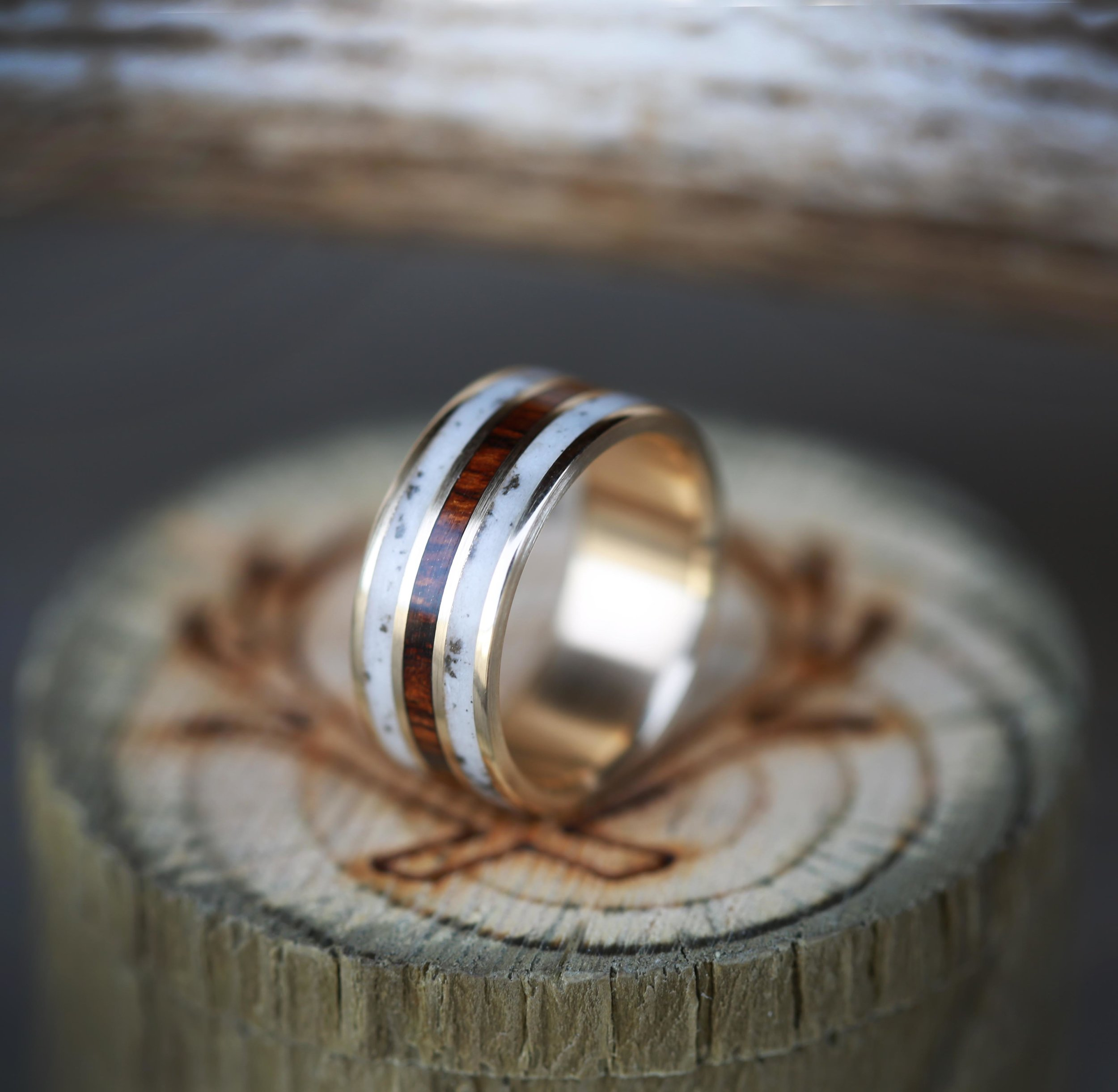 products wedding rings men Ironwood elk antler wedding band with inlays of ironwood elk antler custom made