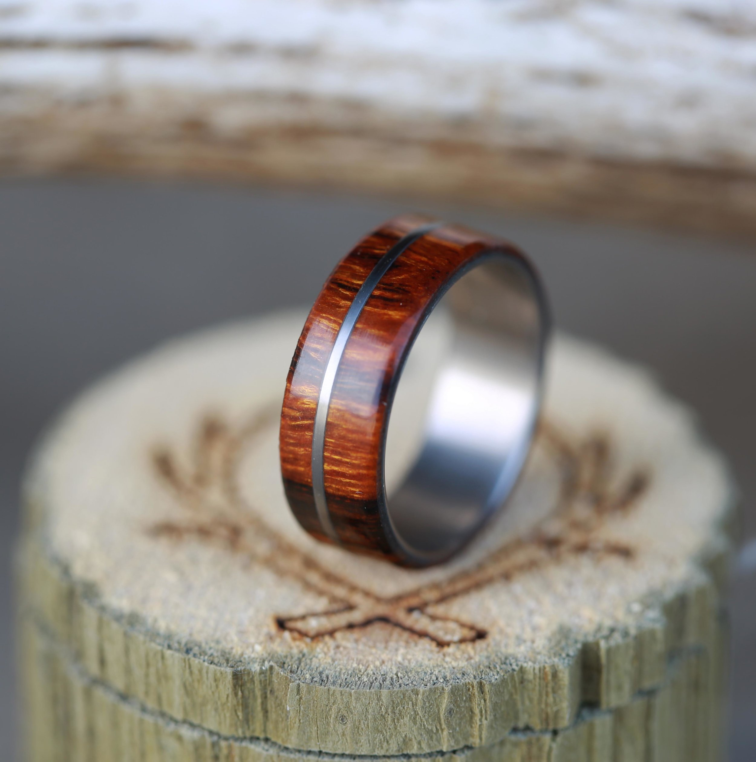 mens wood wedding band with metal inlay wooden wedding bands mens MEN S WOOD WEDDING BAND WITH METAL INLAY available in titanium silver or gold STAGHEAD DESIGNS