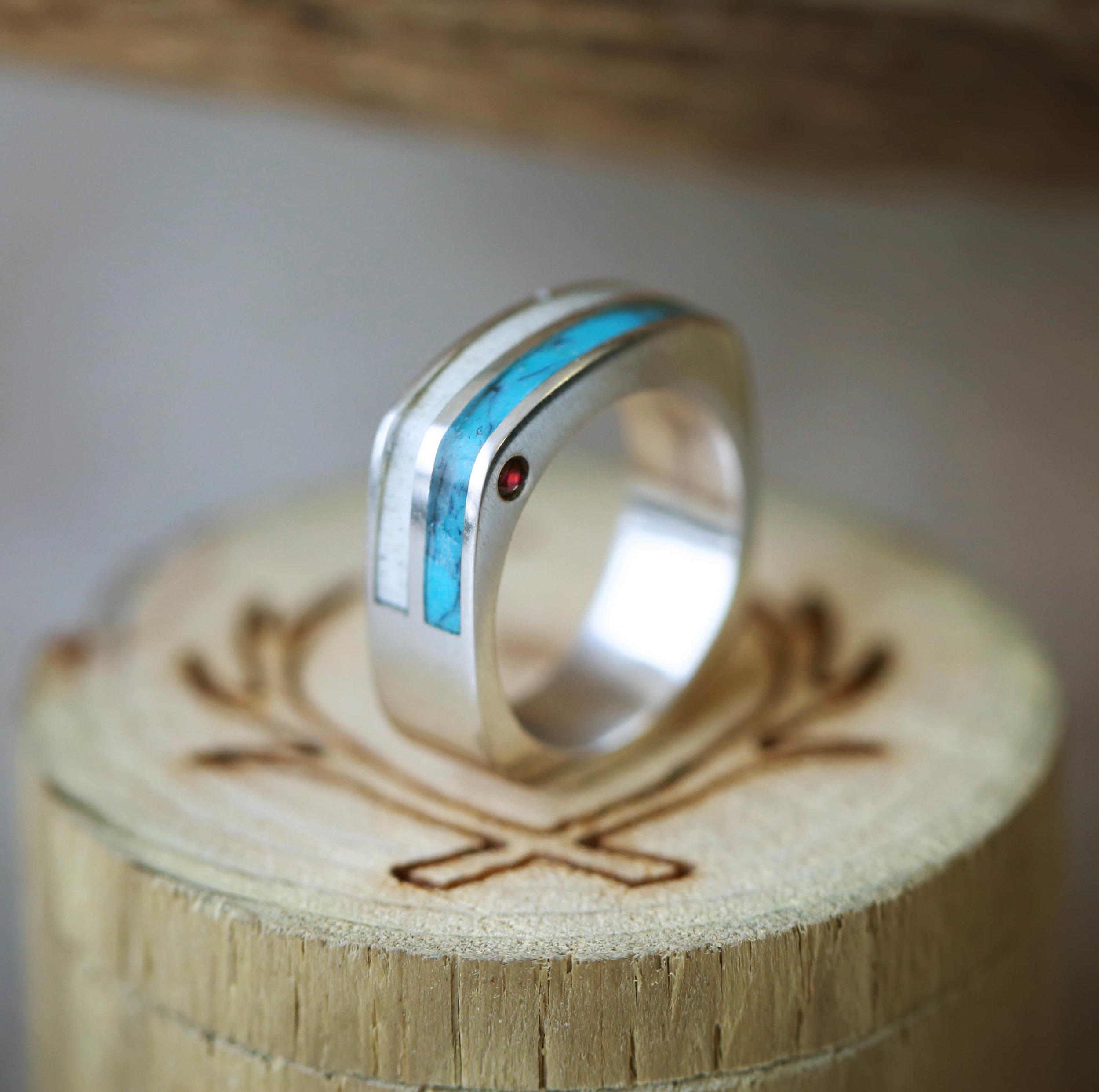 products mens rubber wedding bands Custom cast men s wedding ring Flat topped handmade men s wedding band with turquoise antler