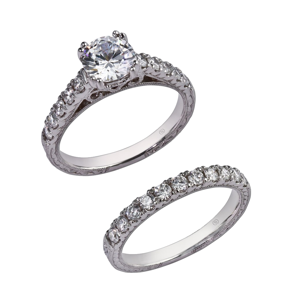 engagement rings delicate wedding bands Classic setting with delicate hand engraving Prong set diamonds climb up the cathedral shoulders