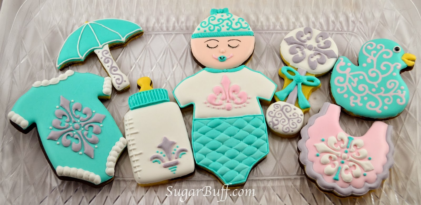 Damask Baby Shower Cookies     Sugar Buff Bake Shop I don t use a lot of tools that would make my cookie decorating easier  I  dream about having a KopyKake projector  an airbrush  an abundance of  stencils and