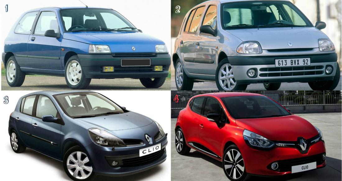 Todas las generaciones del Clio, en su primer Model Year sin restylings. ¿Quedó claro?