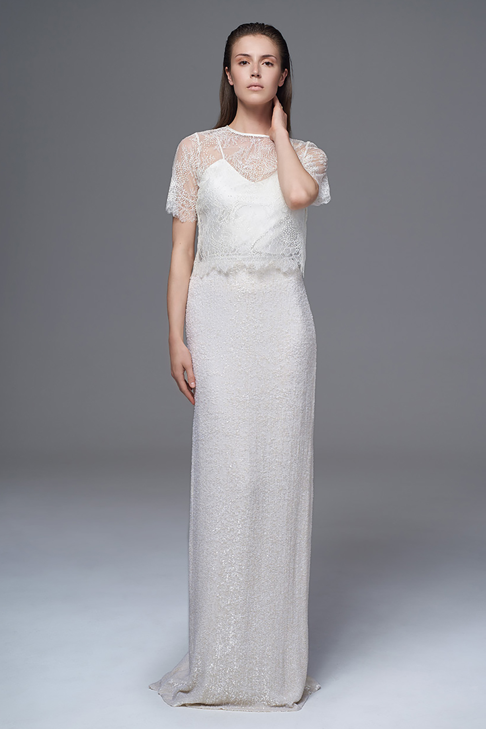 halfpenny collection glitter wedding dress BRIDAL WEDDING DRESS THE ANNABEL FRENCH LACE AND GLITTER BOX TEE STYLED WITH THE CLASSIC IRIS CAMISOLE AND THE