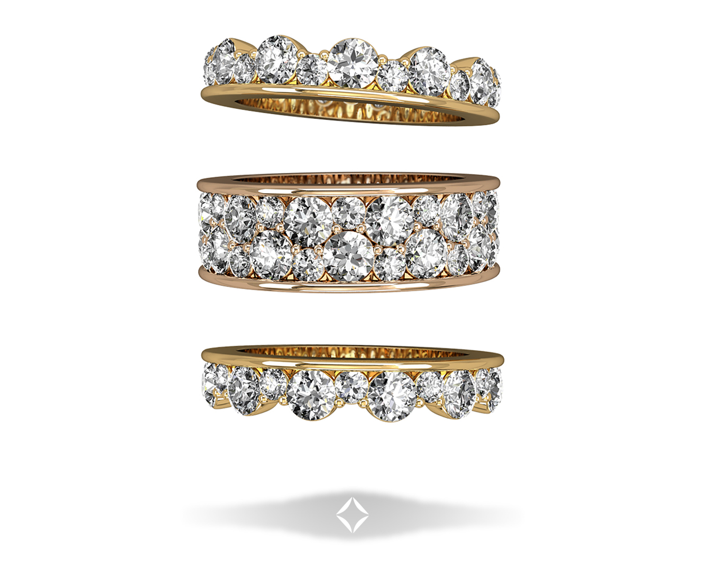integre diamond bridal jewelry stackable wedding bands Stackable Yellow and Rose Gold Diamond Wedding Bands by Integr