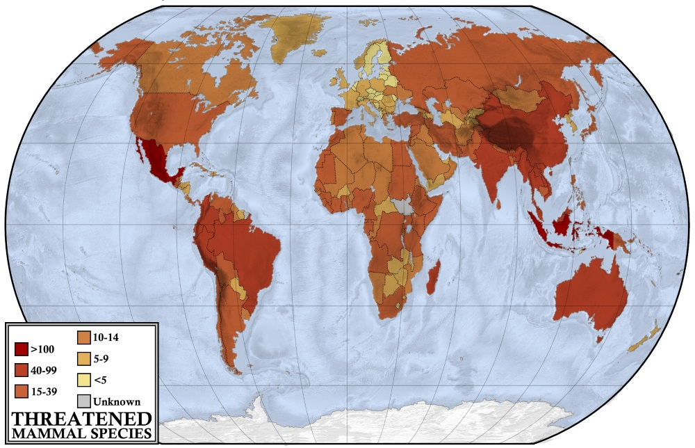 Halcyon Maps Map showing the number of threatened  vulnerable  endangered or critically  endangered  mammal species by country