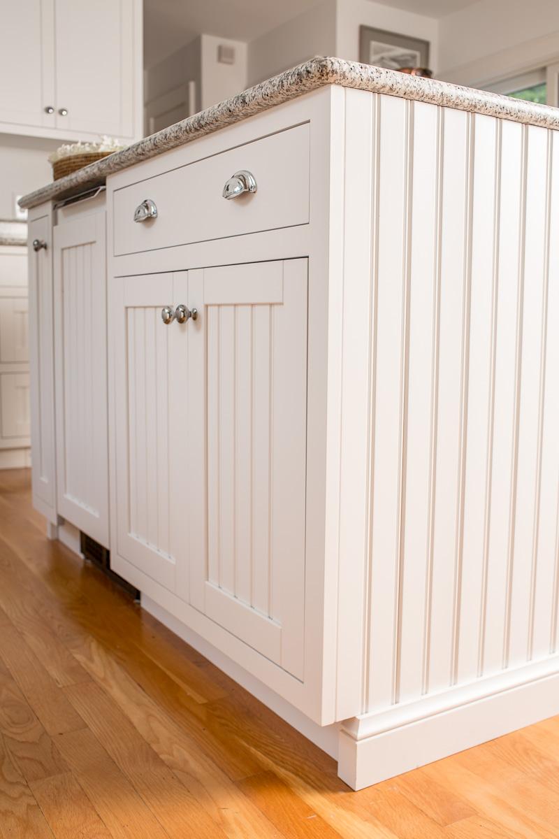 nantucket white white beadboard kitchen cabinets White Beadboard Kitchen Island with Ice Maker Panel