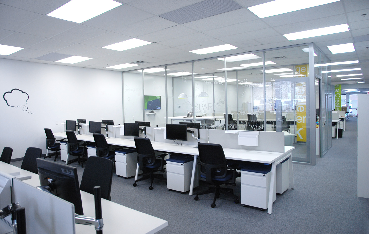 wellintentioned space planning and product selection led to a highly functional aesthetically pleasing workspace functional office furniture