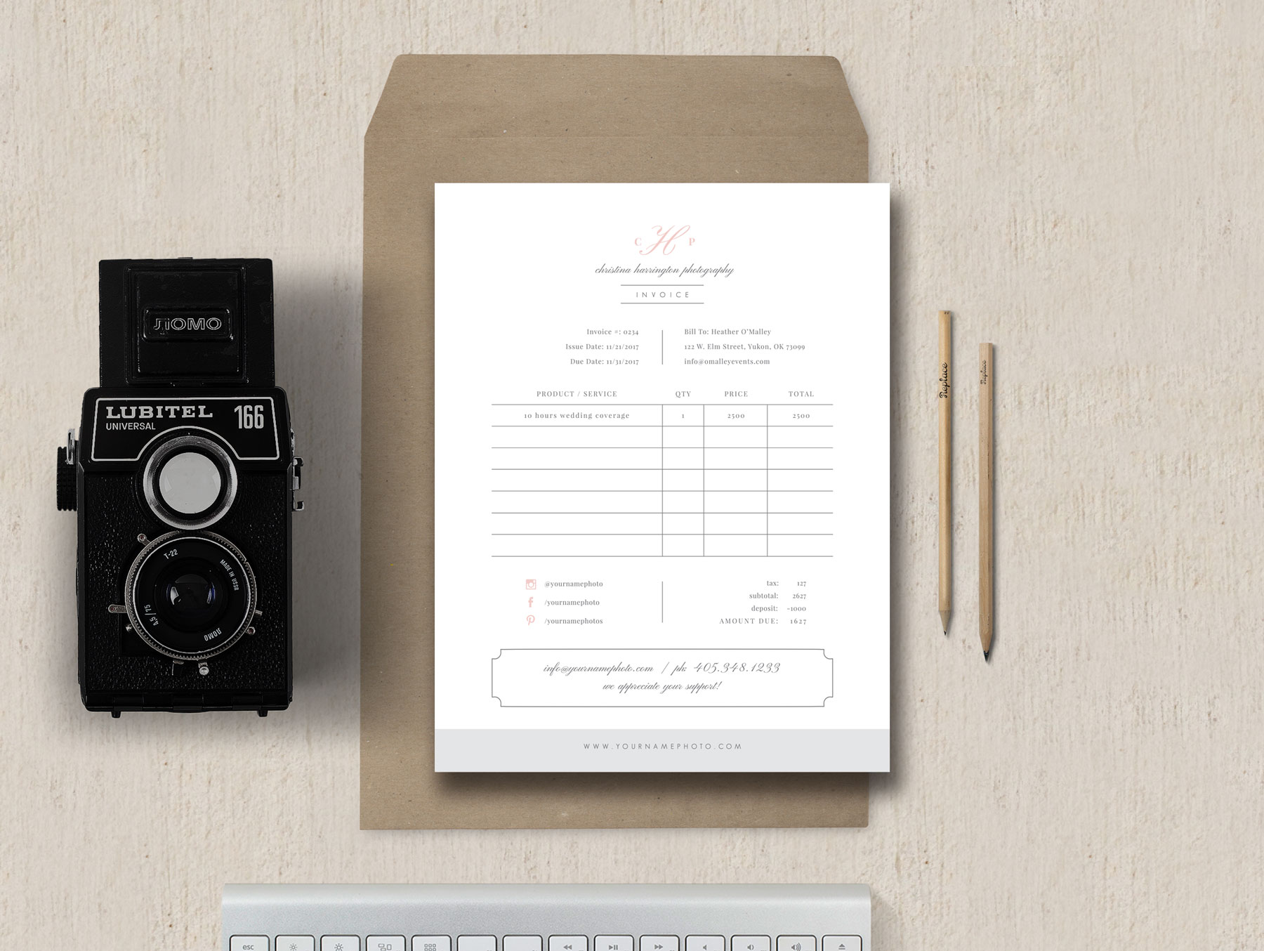 photography forms   invoice templates for photographers Photographer Receipt Template   Studio Invoice Design   Eucalyptus