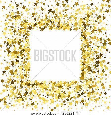 gold frame border square. Square Gold Frame Or Border Of Random Scatter Golden Stars On White  Background Design Element Gold Frame Border Square E