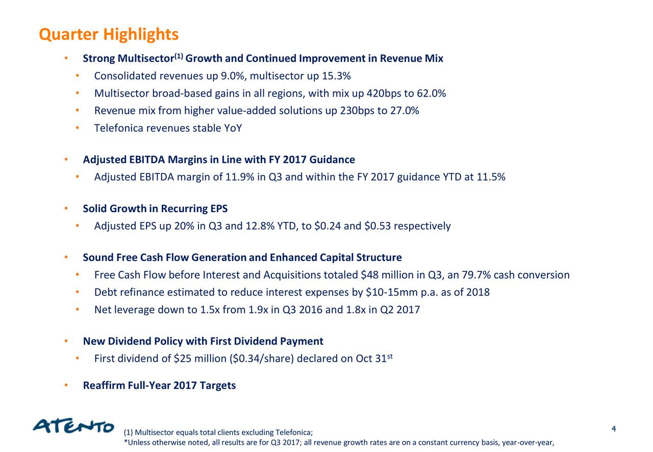 Atento 2017 Q3 - Results - Earnings Call Slides - Atento S.A. (NYSE:ATTO) | Seeking Alpha