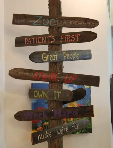 ZocDoc prides itself on 7 core values which are scattered on walls throughout the office.