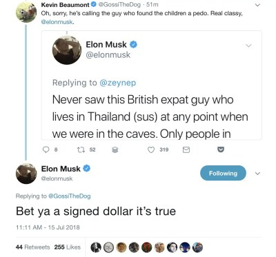 Elon Musk calls a diver who helped in the Thai cave rescue a 'pedo' - Business Insider