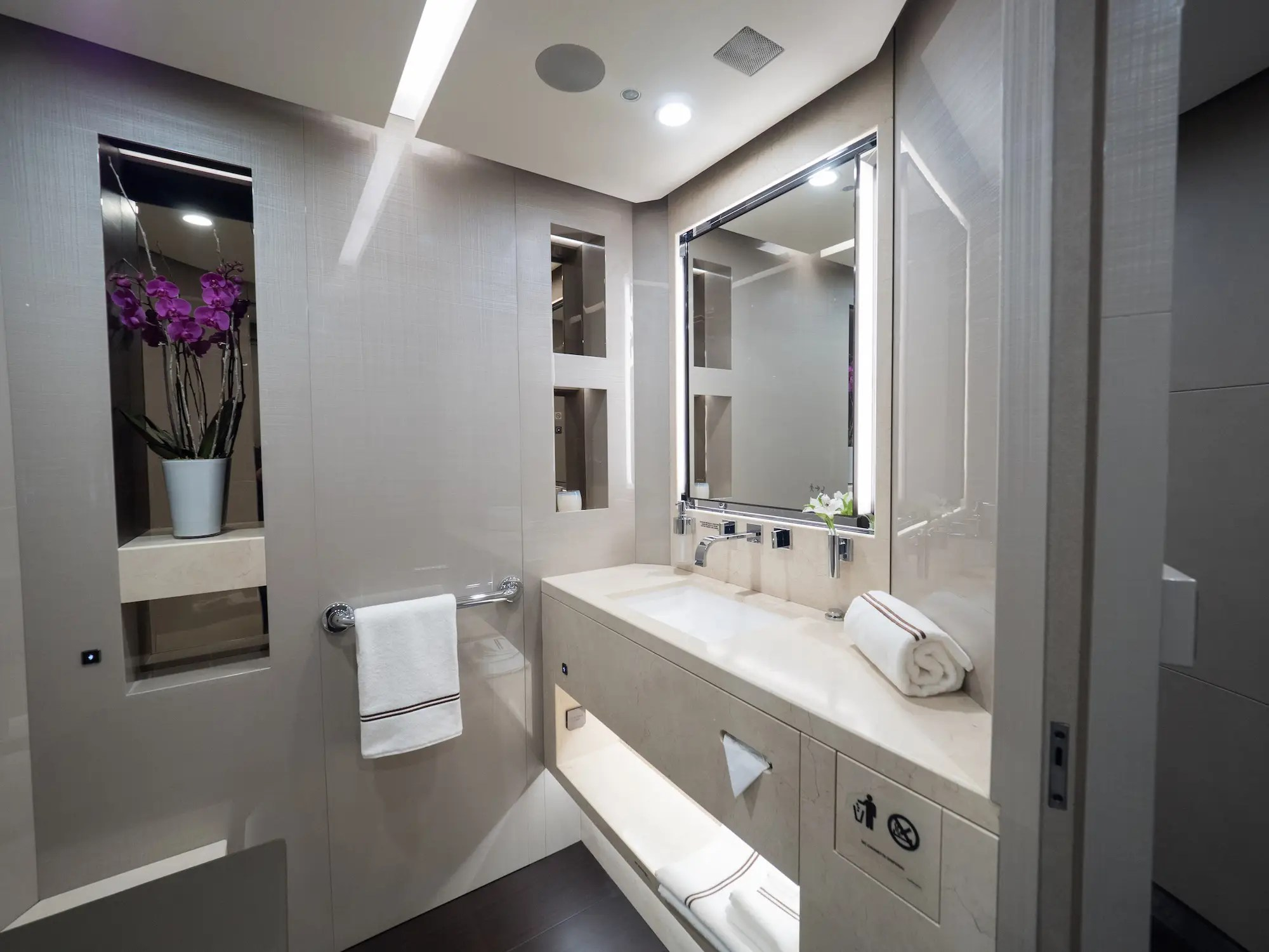 In total, the plane is equipped with five bathrooms.
