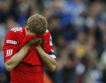 Liverpool's Gerrard reacts after their FA Cup final soccer match against Chelsea at Wembley Stadium in London