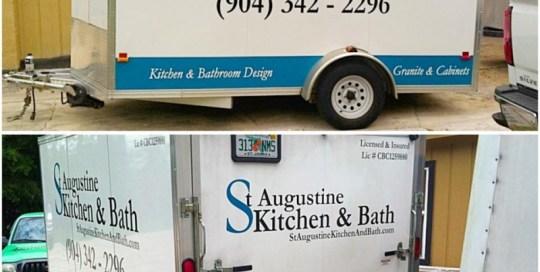 st. augustine kitchen & bath trailer lettering