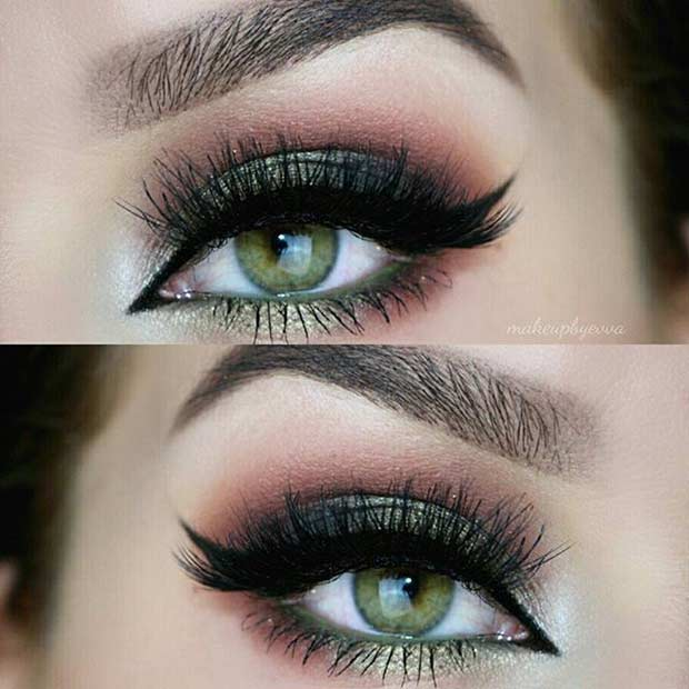 Dark Green and Pink Eye Makeup Look for Green Eyes