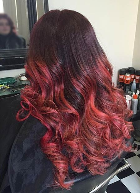 31 Best Red Ombre Hair Color Ideas   Page 3 of 3   StayGlam Burgundy to Bright Red Ombre Hair