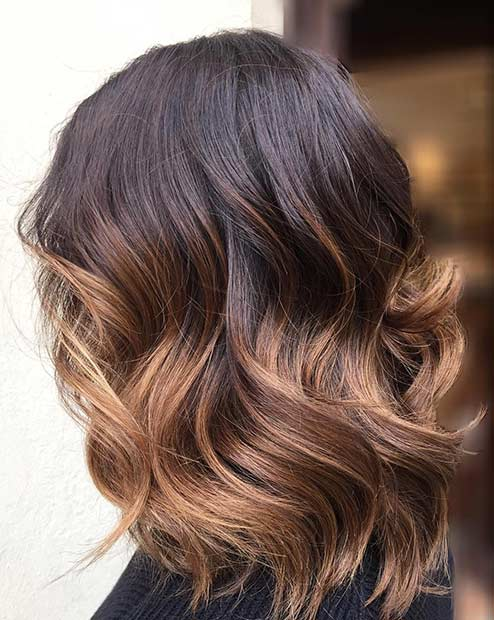 Wavy Caramel Ombre Lob Haircut for Brunettes