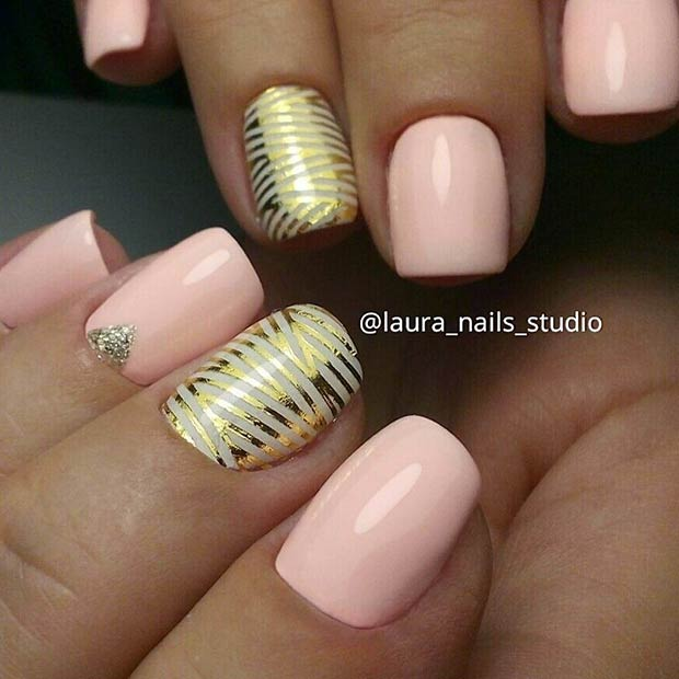 Pastel Pink and Gold Nail Design for Prom