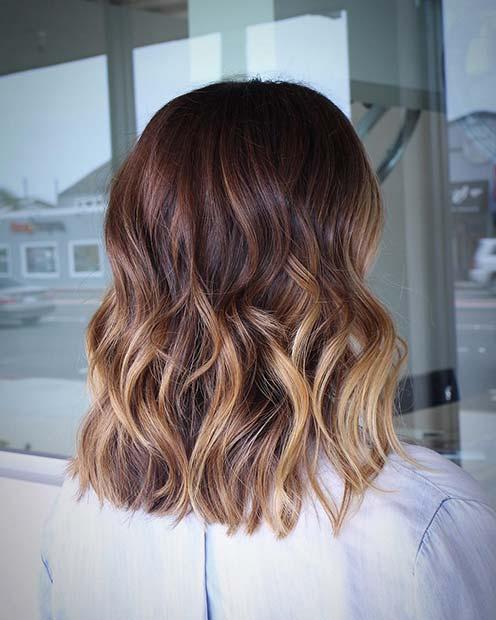 Curly Lob Haircut and Honey Blonde Balayage