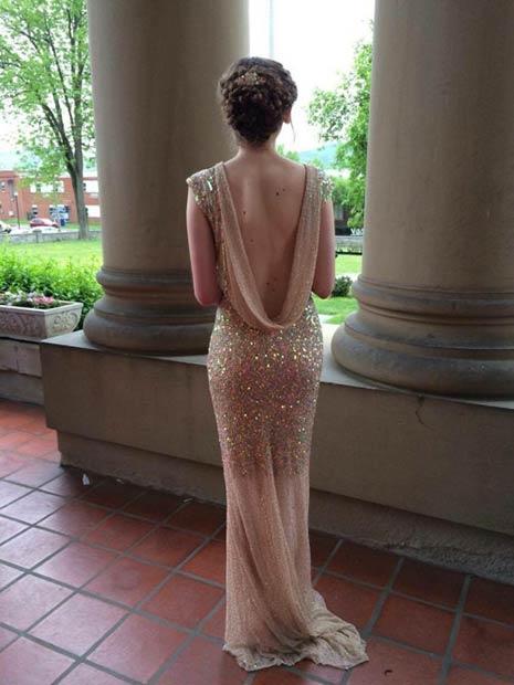 Vintage Sequin Backless Prom Dress
