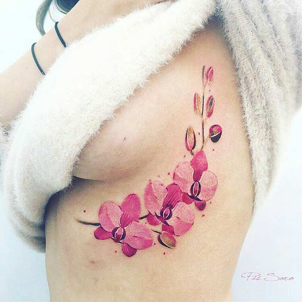 Pink Orchid Flower Watercolor Tattoo Idea