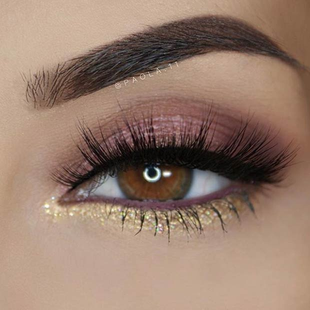 Brown And Gold Eye Makeup for Prom