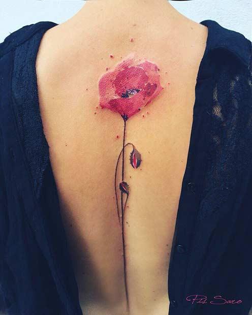 Poppy Watercolor Flower Tattoo Idea for Spine Back