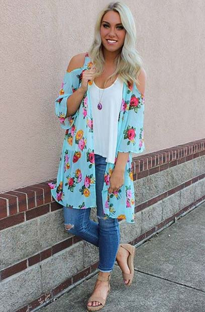 Floral Cutout Shoulder Jacket for Spring 2017 Women's Outfit Idea