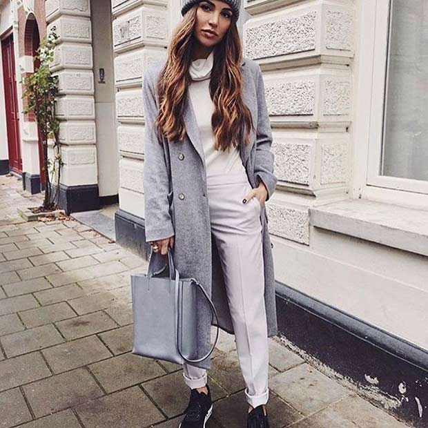 Chic Grey Coat for Spring 2017 Women's Outfit Idea