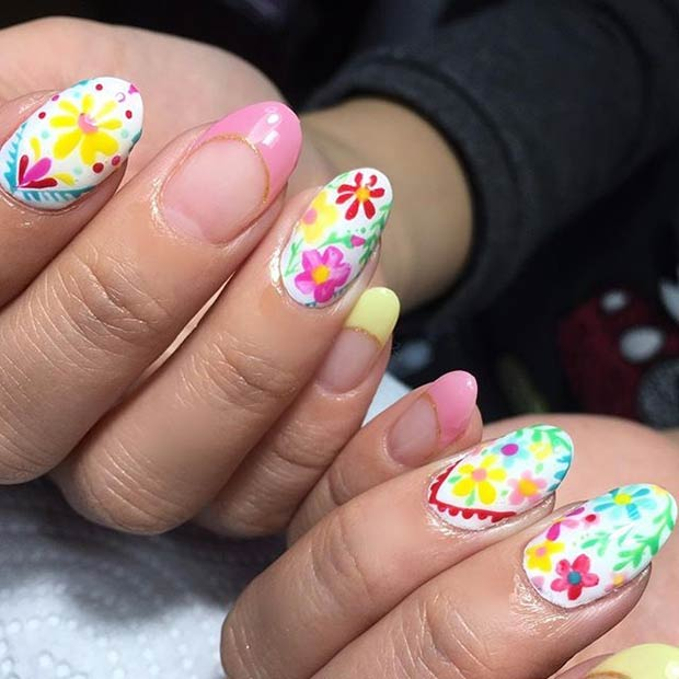 Bright Floral Nail Art Design for Spring