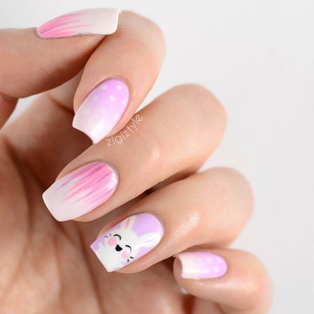Pink Ombre Easter Nail Art Design