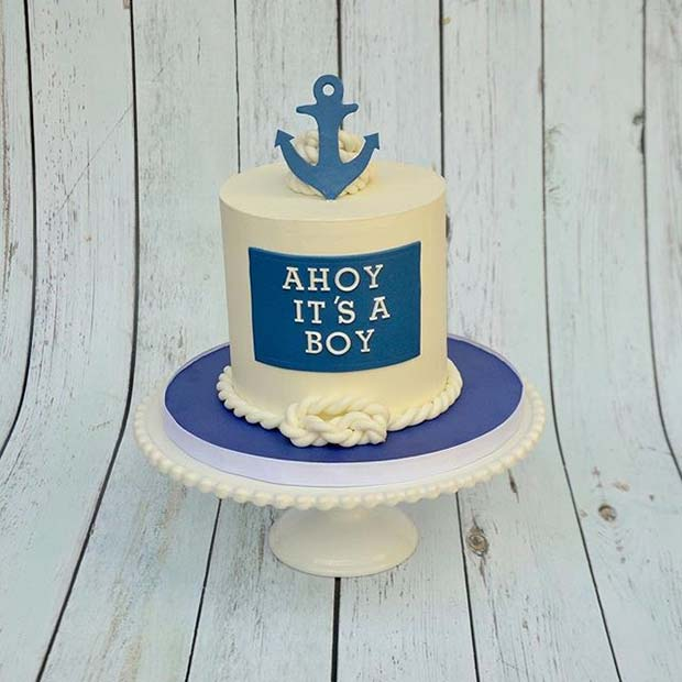 Nautical Ahoy Cake for Boy's Baby Shower