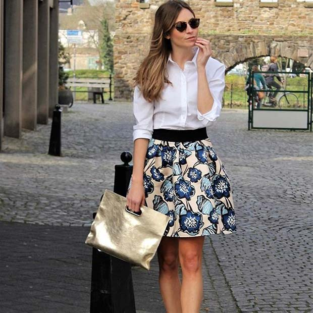Chic Floral Skirt with White Shirt