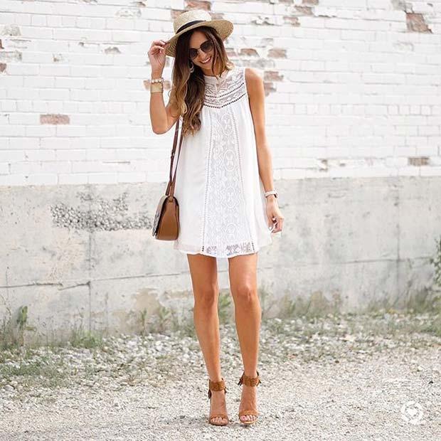 Trendy Short White Dress and Heels