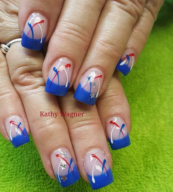 Blue French Manicure for 4th July Design Ideas