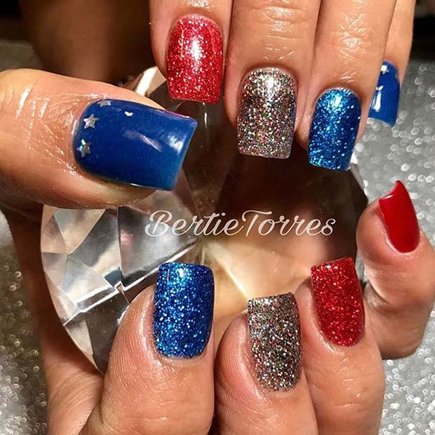 Red, White and Blue Glitter for 4th July Nail Design Idea