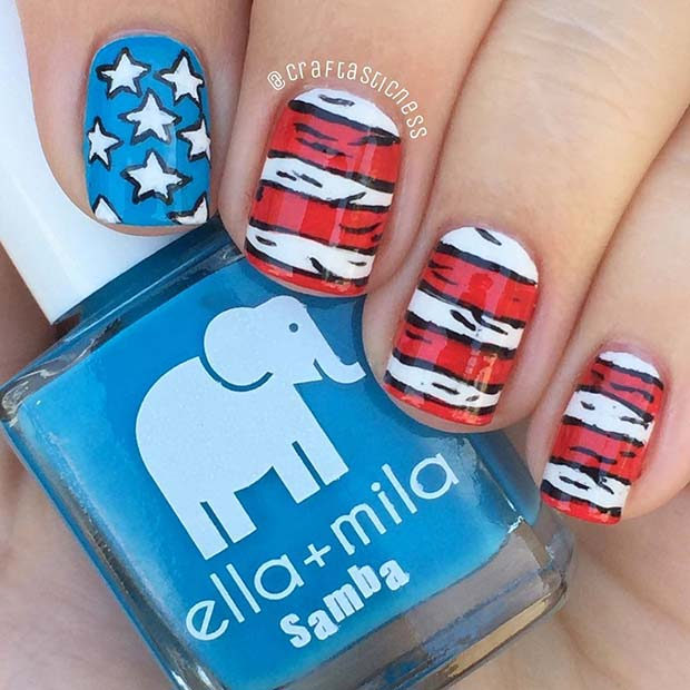 Dr. Seuss Inspired 4th of July Nail Design Idea