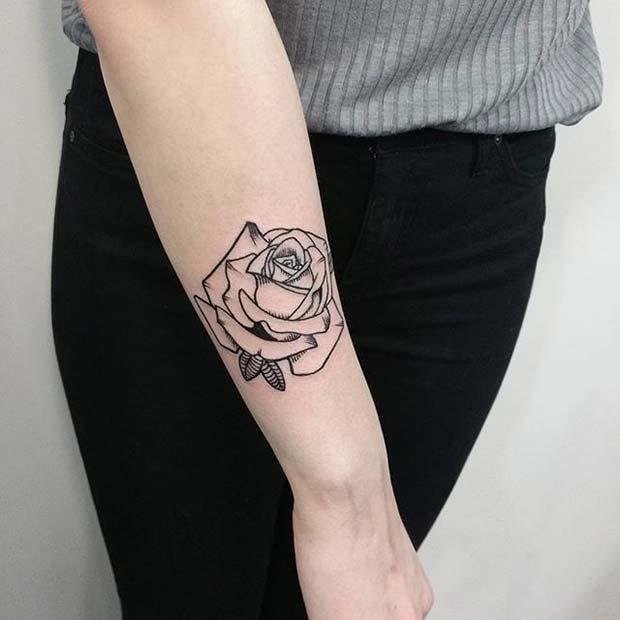 Illustrated Black Ink Rose Arm Tattoo Idea