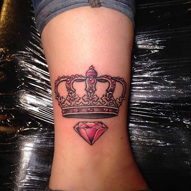 Pink Crown and Diamond Design for Crown Tattoo Idea for Women