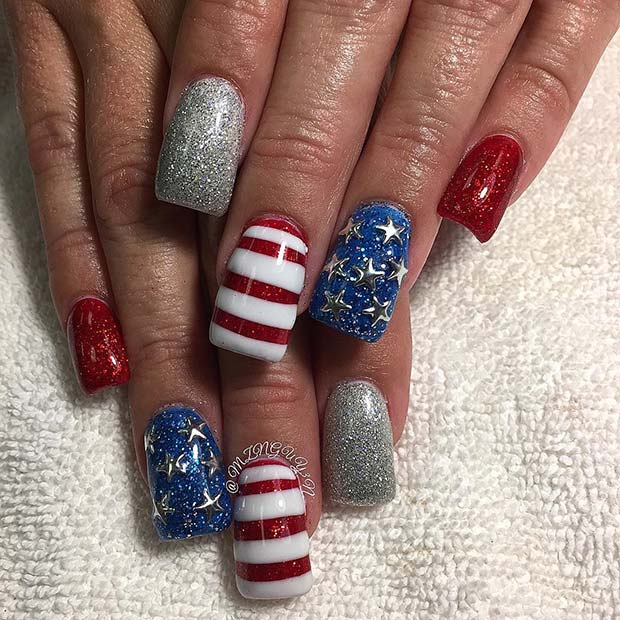 Glitter Stars and Stripes for 4th July Nail Design Idea