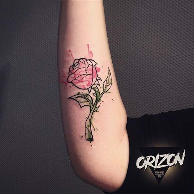 Watercolor Artistic Rose Arm Tattoo Idea